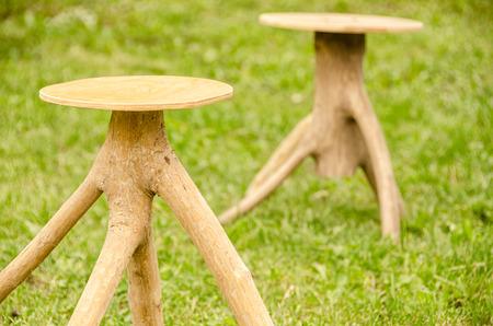 wicker work: Two Handmade chair. Wood. Stock Photo