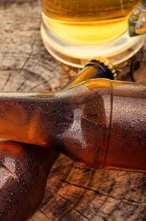 Cold beer. Fresh beer  concept.  Detail Stock Photo