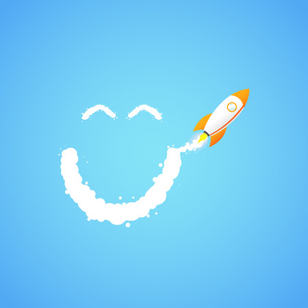 The rocket flies making  smiley face. Concept.  Start up, business and promotion for success. Rocket and the space. Rocket and the space. Illustration