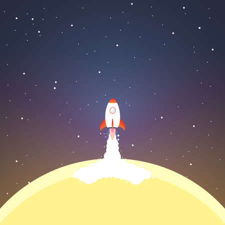 Rocket launch from sun. Concept.  Start up, business and promotion for success. Rocket and the space. Illustration