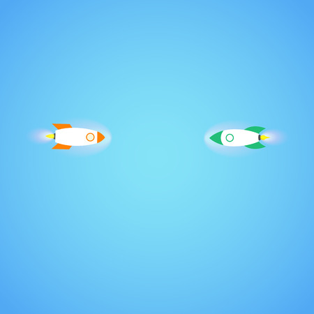 Two rocket's flying towards each other. Concept.  Start up, business and promotion for success. Rocket and the space. Illustration