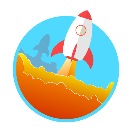 Rocket launch concept icon. Start up, business and promotion for success. Rocket and the space.