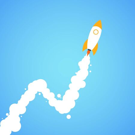 Rocket launch. Concept.  Start up, business and promotion for success.  Rocket and the space infographic.