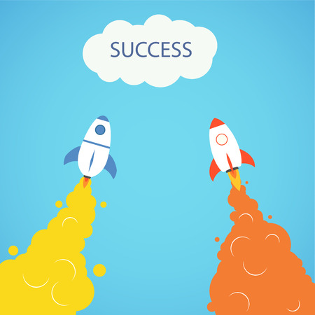 Rocket launch concept. Start up, business and promotion for success. Rocket and the space.
