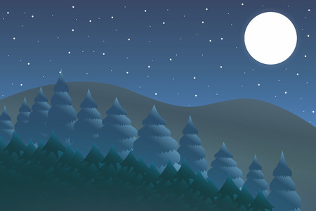 Outdoor design concept. Beautiful landscape. Feel the nature. Nature night. Illustration