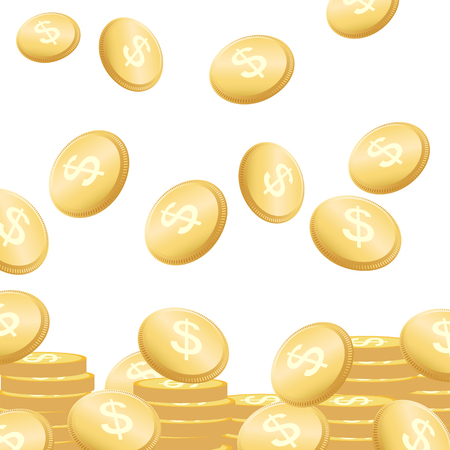 investment concept: Coins falling vector illustration. Golden money. Flying concept.