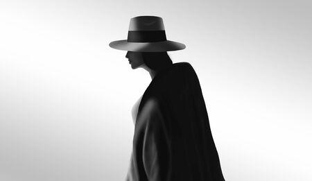 Vrouw portret illustratie. Karakter in hoed lopen weg. Zwart en wit digitaal schilderen. Stockfoto