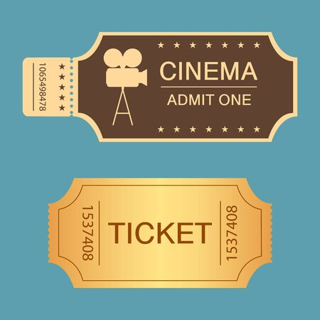 Two different retro tickets. Vintage movie tickets design. Vector illustration.