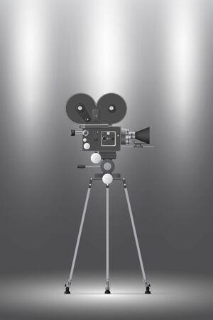 Grey backdrop with spotlight and realistic camera. Vectores