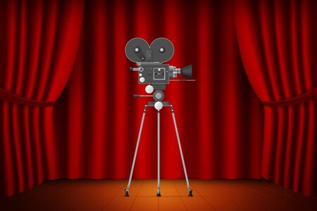 Theater stage with curtain with realistic camera.