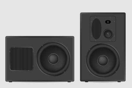 Modern acoustic on white background. Musical speaker vector illustration. Vettoriali