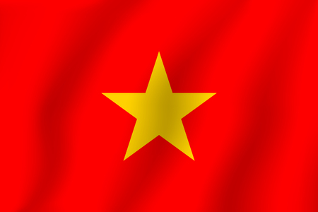 Realistic vector illustration flag. National symbol design. Vietnamese flag.