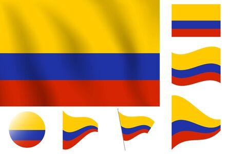 현실적인 벡터 일러스트 레이 션 플래그입니다. 국가 상징 디자인. 콜럼비아 깃발