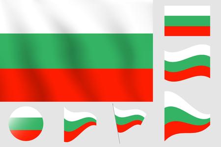 Realistic vector illustration flag. National symbol design of Bulgaria flag.