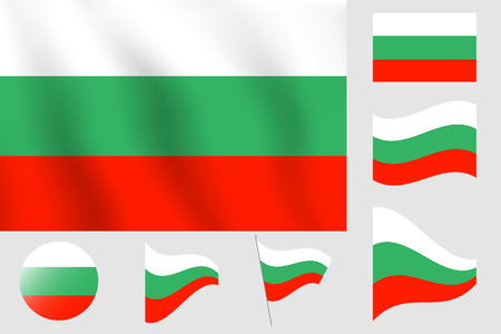 Realistic vector illustration flag. National symbol design of Bulgaria flag.