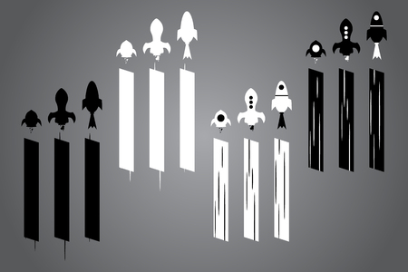 Creative icon with rocket. Black and white logo design. Vector illustration. Modern noir style