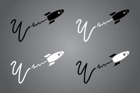 Kreative Ikone mit Rakete. Schwarz-Weiß-Design. Vektor-Illustration. Moderner Noir-Stil