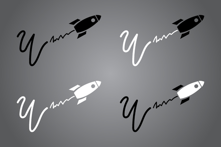 Creative icon with rocket. Black and white  design. Vector illustration. Modern noir style Illustration