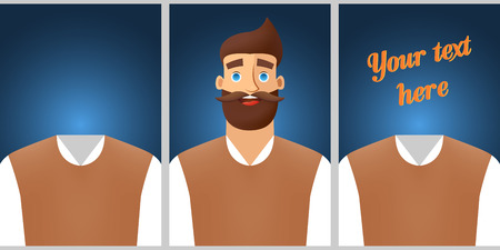 Colored template for promotion. Banner design with men character and clothes. Vector illustration concept. Çizim