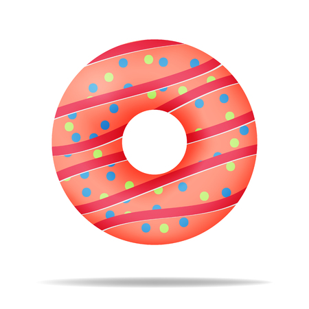 Tasty bakery product. Delicious colorful donut. Food design.  Vector illustration.  イラスト・ベクター素材