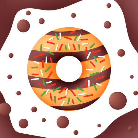 Tasty bakery product. Delicious colorful donut with chocolate liquid. Food design.  Vector illustration.