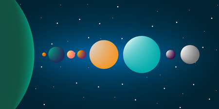 Adventure at universe. Alien system. Planet and the space. Eight planets. Vector illustration design.