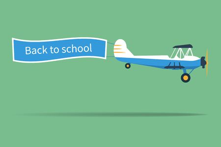 Back to school concept. Airplane with the inscription.  Illustration design. Çizim