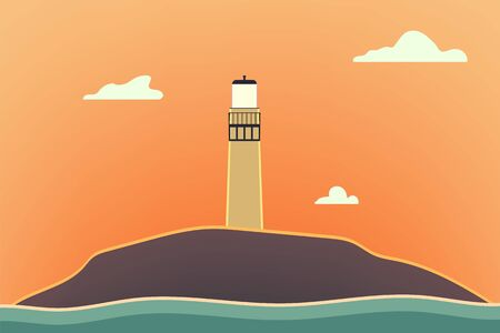Outdoor  illustration design. Beautiful landscape with lighthouse. Nature at sunset.
