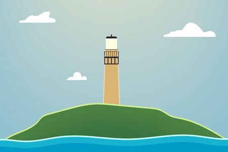 Outdoor illustration design. Beautiful landscape with lighthouse. Çizim