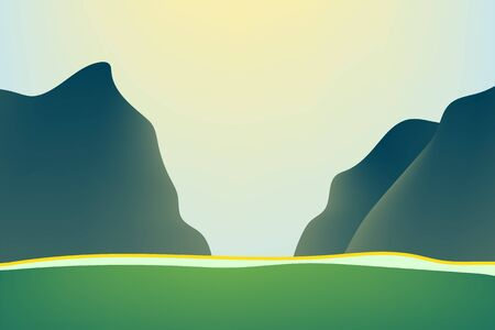 Outdoor illustration design. Beautiful landscape with mountains. Nature at noon.