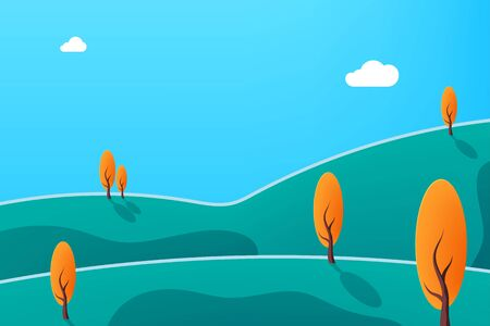 Beautiful nature with tree and cloud. Nature at noon. Outdoor vector illustration design. Beautiful landscape.  向量圖像