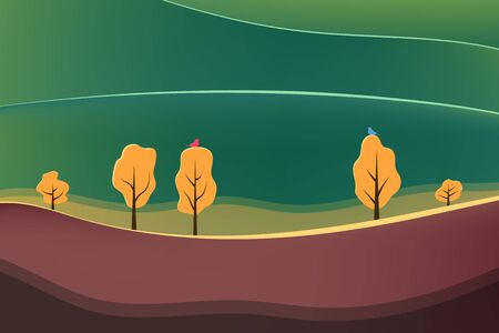 Beautiful nature with tree. Nature at noon. Outdoor vector illustration design. Beautiful landscape. Imagens - 132124746