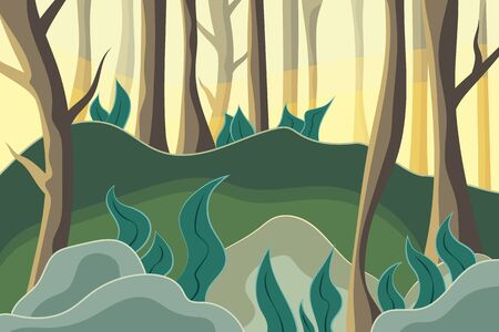 Beautiful forest. Nature at noon. Outdoor vector illustration design. Beautiful landscape.