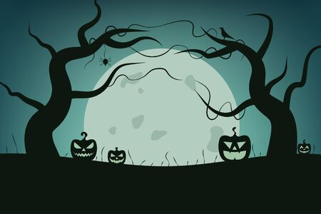Magic autumn holiday elements. Halloween landscape with tree, spider, pumpkin, bird and moon. Vector illustration design.