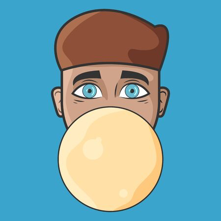 Cartoon vector illustration design. Character for your project. The man with yellow bubble gum. Portrait of man who inflates a bubble gum balloon.