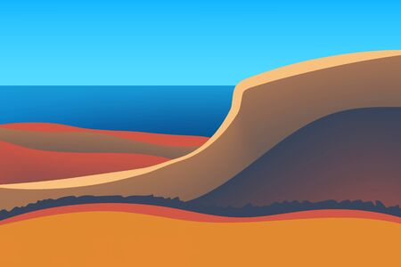 Outdoor vector illustration design. Nature at noon. Beautiful landscape with sea. Illustration for your project.