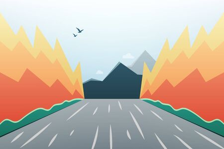 Outdoor illustration design. Nature at noon. Beautiful landscape with road, mountain, cloud and bird.