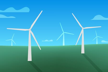 Outdoor vector design. Nature at noon. Beautiful landscape with field, cloud and wind turbine. Illustration for your project in green and blue. 向量圖像