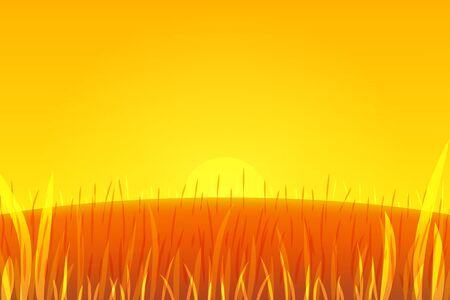 Outdoor vector design. Nature at sunrise. Beautiful landscape with hill, sun and green. Colored illustration for your project in yellow.