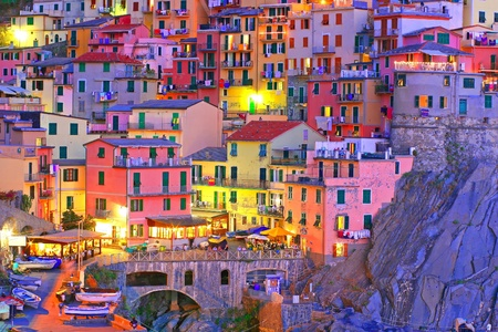 hdr: Italian sea village Manarola in Cinque Terre  Stock Photo