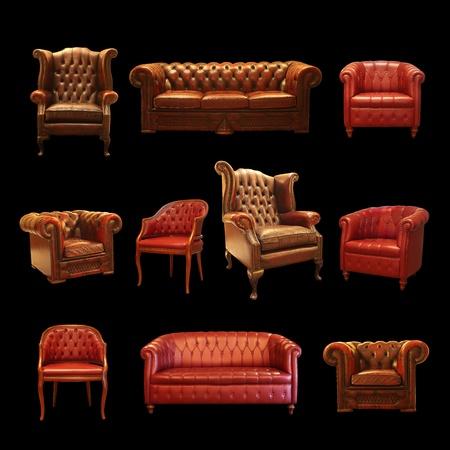 muebles antiguos: Colección sentado Foto de archivo