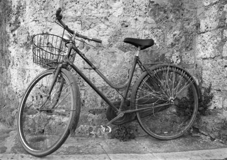 Old bicycle in B W photo