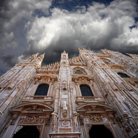 cathedrals: Clouds above the church Stock Photo
