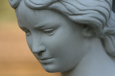 angel cemetery: Marble statue, detail of the face Stock Photo