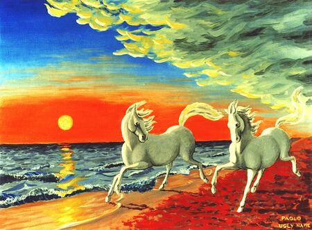 sand art: Horses running on the beach Stock Photo