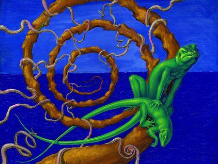 copulate: Green lizards in a spiral of love