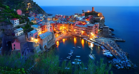 Cinque Terre, Vernazza at the blue hour Stock Photo