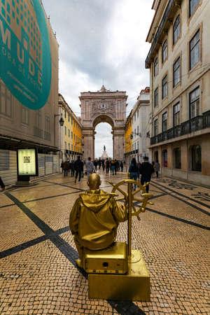 Gold Helmsman, Street Performer in Rua Augusta, Lisbon Editorial