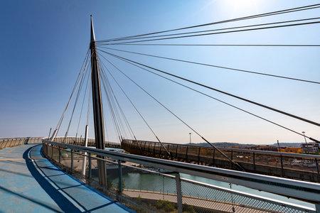 Pedestrian path on Ponte del Mare, Pescara, Italy 02 Stock Photo