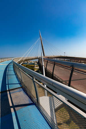 Pedestrian and cycle path on Ponte del Mare, Pescara, Italy 01